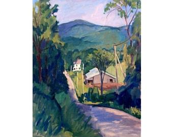 Large Berkshires Landscape Painting -Falling Light- American Plein Air Impressionist Oil on Canvas, Signed Original Realist Fine Art