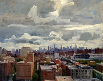 From 168th Street, The Bronx, Signed Realist Original Oil on Linen