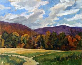 Oil Painting Landscape -Toward Vermont, Autumn- 12x12 Oil on Canvas, Plein Air American Impressionist Oil, Signed Original Realist Fine Art