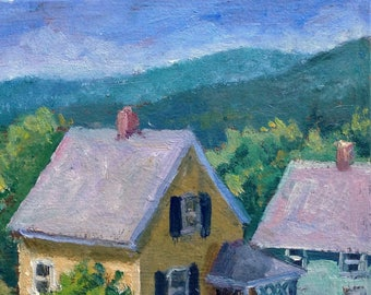 Small Oil Painting, Sunny Houses, New England. 5x7 inch oil, American Realist Landscape, Plein Air Impressionist Signed Original Fine Art