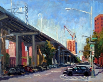 Under the Williamsburg Bridge, Morning Light NYC. 14x10 Original Oil Painting, Impressionist Fine Art Signed New York City Realist Cityscape