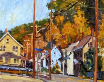 Oil Painting Landscape-Houses and Poles/Autumn-10x20 on Panel, Plein Air American Impressionist  Artwork, Signed Original Fine Art