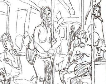 Original Pencil Drawing, On the A Train, NYC. 5x7 inch Sketch, New York City Subway Artwork, Signed Original Urban Fine Art