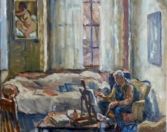 Painting, Studio Light/Frank Curran Painting in Studio. 12x12 Impressionist Oil on Canvas, Realist Interior Study, Signed Original Fine Art