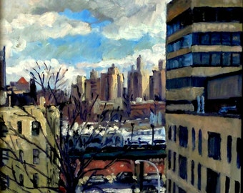 Eastward from Inwood. New York City Original Oil Painting on Canvas, 11x14 NYC Impressionist Plein Air Fine Art, Signed Original Cityscape