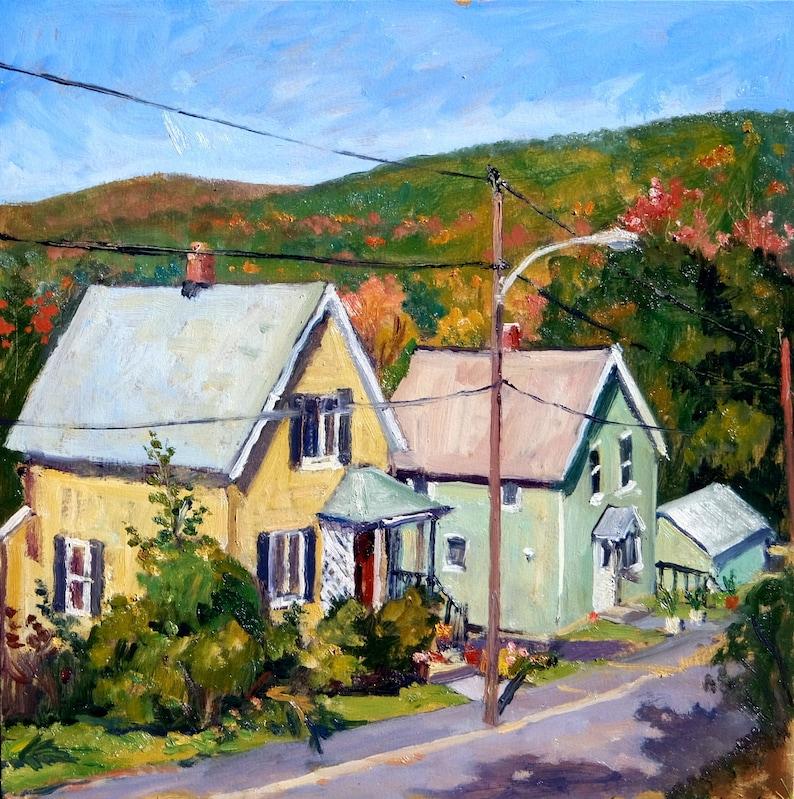 Autumn Oil Painting -Sunny Houses- 14x14 Oil on Panel, Realist Landscape,  Plein Air Impressionist Signed Original American Fine Art