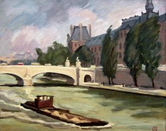 Large Oil Painting Landscape, Paris, Le Seine and Louvre, Impressionist Oil on Canvas, Signed Original 20x24 Realist Vintage Fine Art