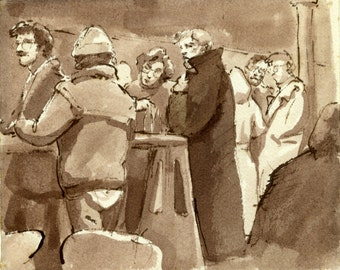 Original Drawing-The Overcoat/Grassroots Tavern/East Village NYC- 1980s Pen and Sepia Ink, Signed Original New York City Vintage Fine Art