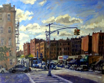New York City Oil Painting, From Broadway at Isham. 16x20 Oil on Canvas Realist Cityscape, Impressionist Landscape, Signed Original Fine Art