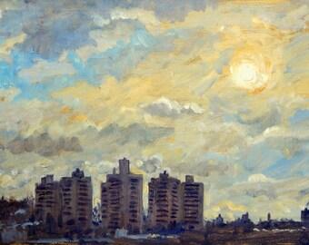 Impressionist Oil Painting Landscape, Sun Glow/The Bronx. Original 10x20 on Panel, Realist New York Signed Original, Plein Air Impressionism