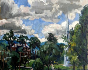 Cloudy Summer Afternoon, Williamstown. Realist Landscape Painting, 12x12 Williams College Oil on Canvas, Original Impressionist Fine Art