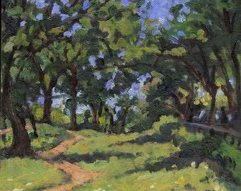 Oil Painting Landscape, From Inwood, Isham Park. Original New York 6x7 Oil on Panel, Small Signed Original Impressionist Plein Air Fine Art