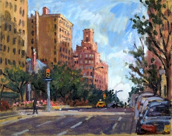 New York Oil Painting Landscape. Uptown, 94th and Park Ave Morning Light, NYC. 8x10 Oil on Canvas, Original  Plein Air Impressionist Artwork