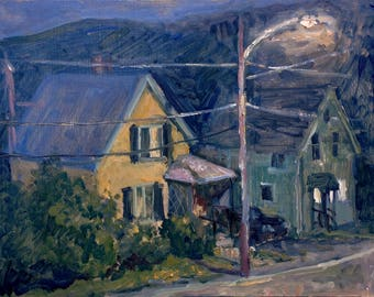 Realist Oil Painting, Front Porch Nocturne. 8x10 Plein Air American Impressionist Night Scene Landscape, Signed Original Realist Fine Art