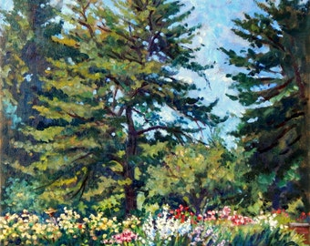 Sale, Large Oil Painting- New York Botanical Gardens/NYC- 16x16 on Canvas, Impressionist Plein Air Fine Art, Signed Original Impressionism