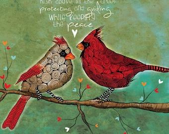 Divine Love / Cardinal print original illustration ART Print Hand SIGNED size 8 x 10