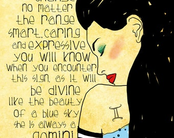 Gemini art print CUSTOMIZABLE air sign original illustration ART Print Hand SIGNED size 8 x 10