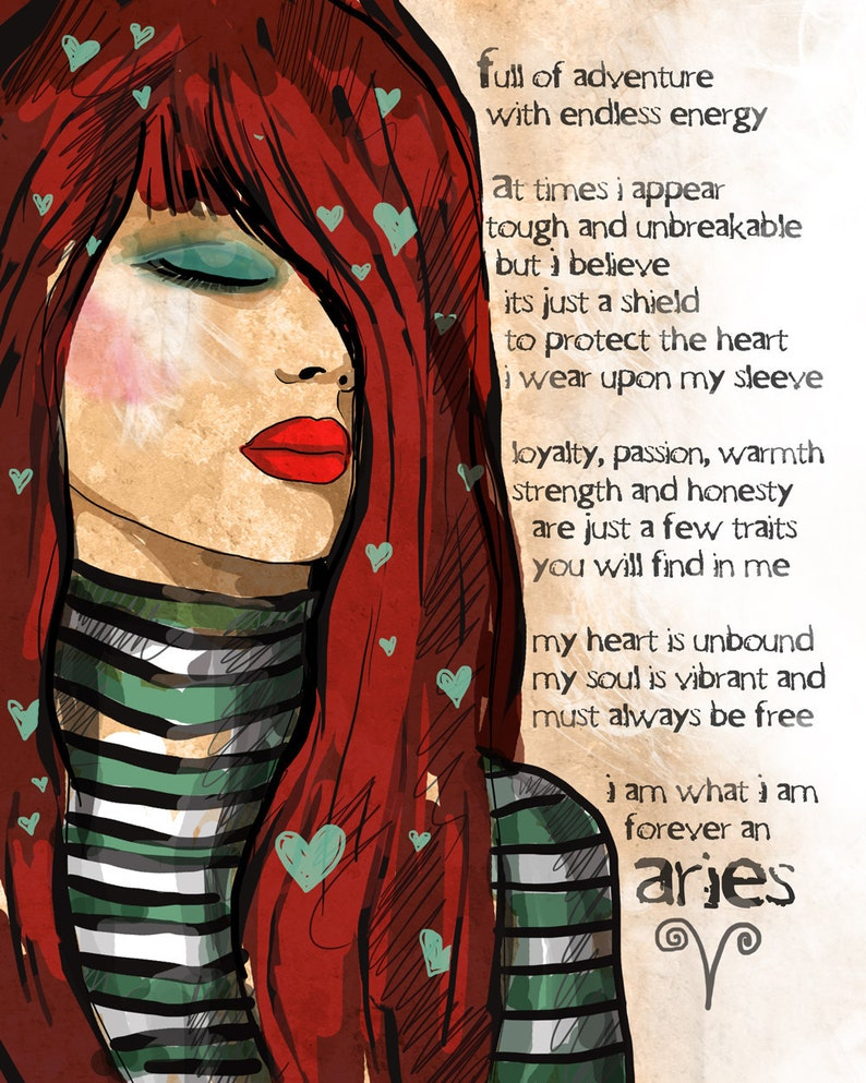 Aries art print CUSTOMIZABLE Astrology March Birthday April image 0