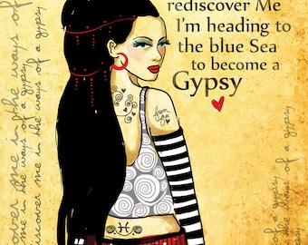Gypsy Art Print original illustration ART Print Hand SIGNED size 8 x 10