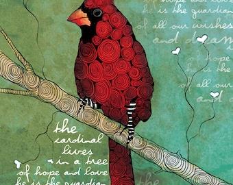 The Guardian of Dreams / Cardinal / original illustration ART Print SIGNED / 8 x 10 / NEW