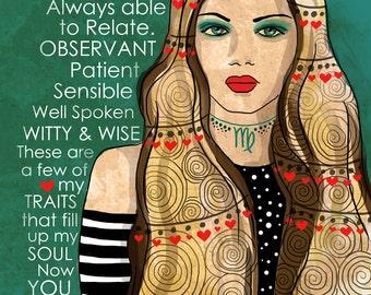 Virgo art print CUSTOMIZABLE september Birthday August birthday earth sign Astrology original illustration ART Print Hand SIGNED size 8 x 10