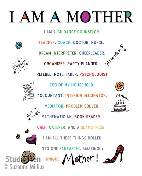 I Am A Mother Poem Illustrated Signed 8 x 10 Print CLICK through images to  read entire poem