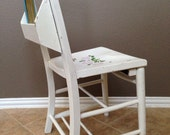 Antique Vintage Painted White Childs Prayer or Schoolhouse chair with book storage. Farmhouse Dining chair.