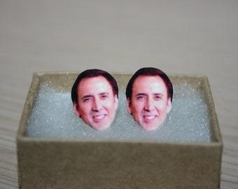 Nicolas Cage Post Stud Earrings Celebrity Jewelry