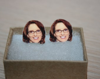 Tina Fey Post Stud Earrings Celebrity Jewelry