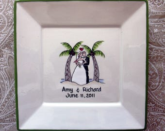 Wedding Guest Book Alternative - Guest Book Plate  - Signature Plate Guest Book -Tropical Bride and Groom