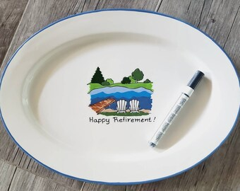 Retirement Guest Book Alternative Gift, signature platter, retirement keepsake, guestbook gift _ lake