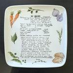 Recipe Plate, Chef Gift, Custom Pottery Sentimental Gift, Custom Recipe Personalized Gift, Custom Recipe Kitchen Pottery, Serving Veggie