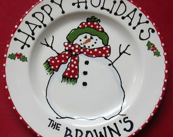 Snowman Plate, cookies for santa plate, santa cookie plate, Milk and Cookies, child Christmas gift, baby's 1st Christmas  snowman plate