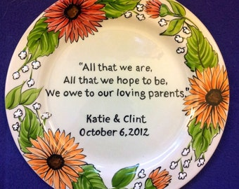 WEDDING GIFT to MOM and Dad - Parents Wedding Gift Plate- Thank you Mom and Dad - Fall Daisy Floral