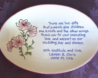 Wedding Gift for Parents Plate  - Thank you Mom and Dad - Parents gift Petunia