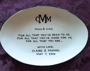 Wedding Gift for Parents Plate - Thank you Mom and Dad - Parents gift-  simple monogram