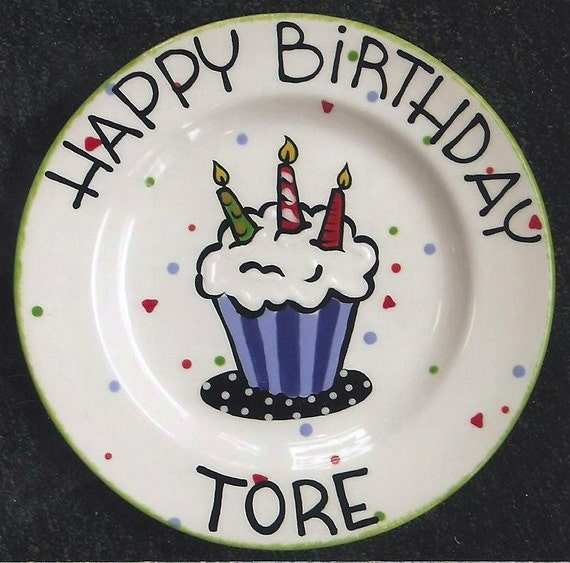 Awe Inspiring Birthday Plate Cupcake Plate Cake Plate 1St Birthday Happy Etsy Birthday Cards Printable Trancafe Filternl