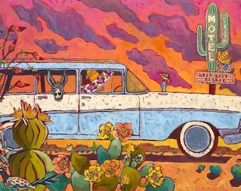 Desert Station Wagon With Donkey Art Print