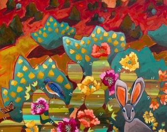 Mischief In The Cliffs - Art Print, Digital, Zion, Red Cliffs, Jackrabbit, Mountain Goats, Prickly Pear Cactus