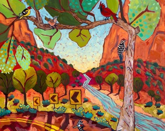 Zion Bent Tree Of Life - Art Print, Digital, Road Runner, Virgin River, Birds, Cliffs, Desert
