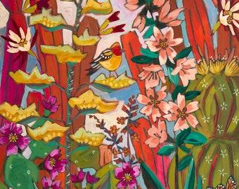 Desert Jungle - Art Print, Digital, Birds, Roadrunner, Flowers, Cactus, Southwest, Blooming, Lush
