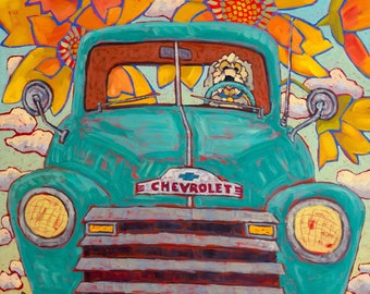 Dog Driving Vintage Truck Art Print