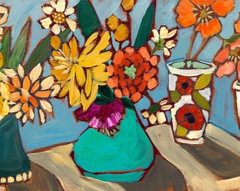 Flowers From the Garden - Art Print, Digital, Blooming Flowers, Fresh Cut, Colorful, Gift, Kitchen Art, Still Life