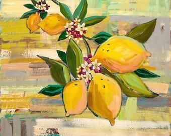 Lemons - Art Print, Digital, Blooming, Springtime, Yellow, Green, Leaves, Fruit Tree, Lemon Tree, Abstract Art, Fruit, Kitchen Art, Kitchen