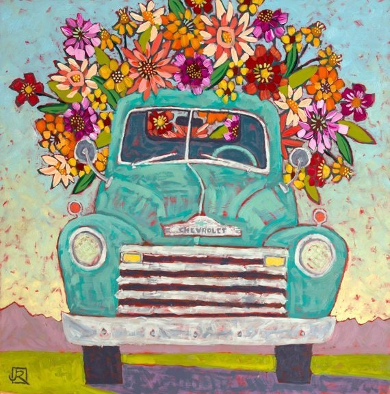 Flower Delivery Art Print Old Truck Vintage Truck Classic