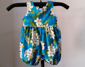 1db58f686 Hawaiian Print Peacock Blue Romper