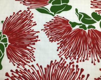 Red Lehua on White Hawaiian Print in Poly Cotton (Yardage Available)