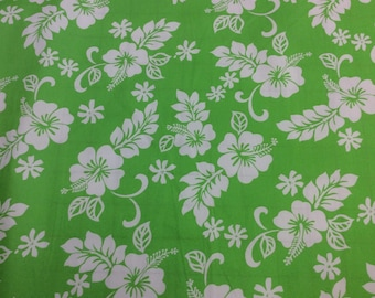 Classic Hawaiian Cotton Fabric in lime green.  (Yardage Available)