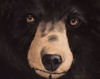 "Black Bear Pastel Painting, Matted and Framed  11"" x 14"""