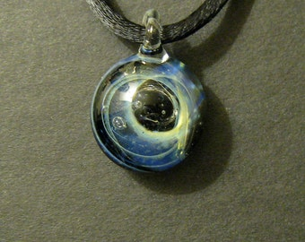 Galaxy Pendant Silver Fume & Boro Glass Lampworked Focal Bead
